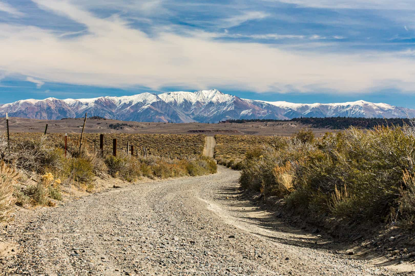 Road & White Mountains, Long Valley, October 2015