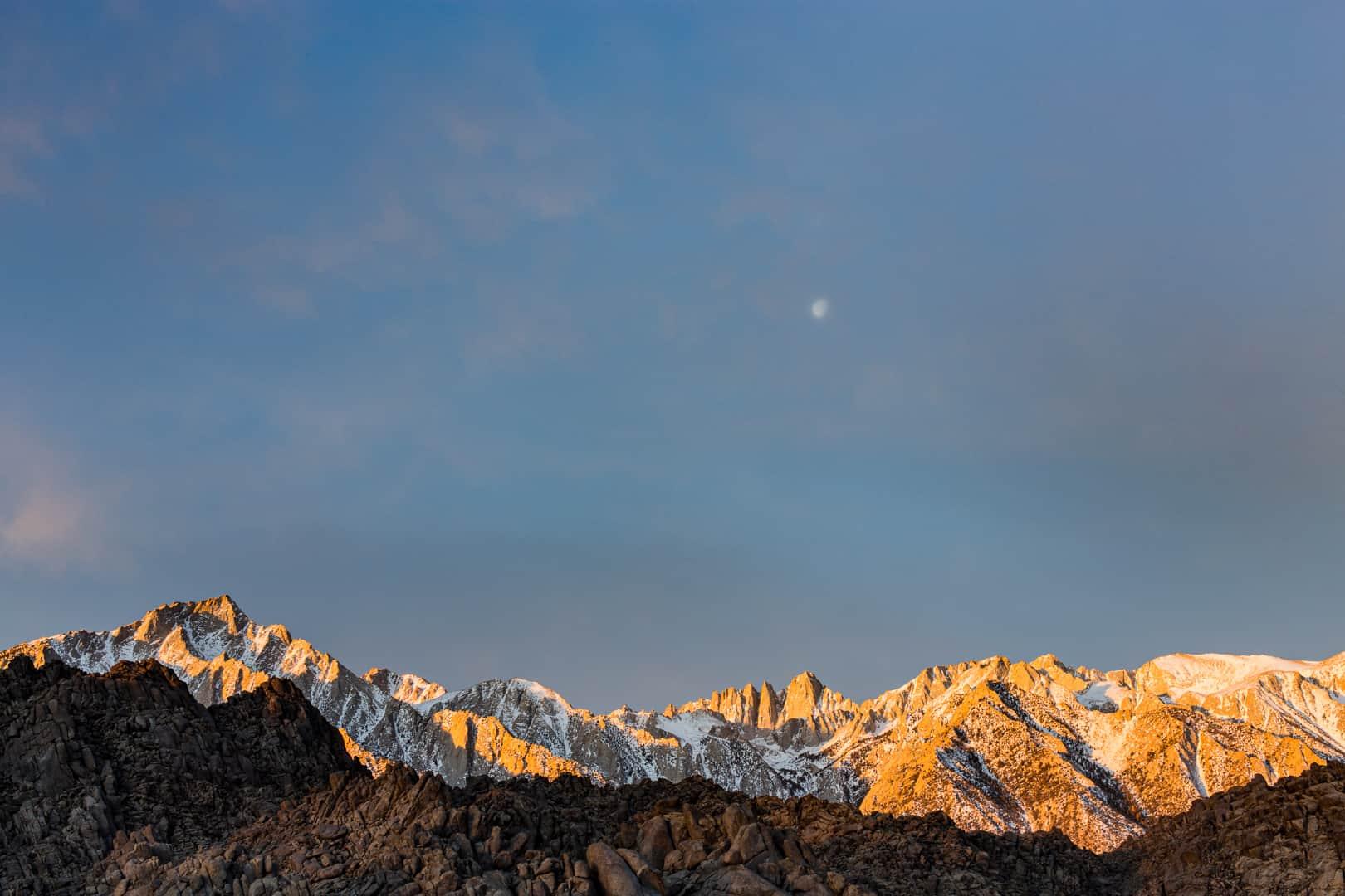 Moonrise over Mount Whitney, Eastern Sierra, January 2016